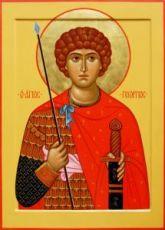 Икона Георгий Победоносец (рукописная)