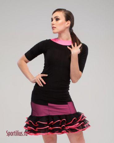 черный с розовым костюм для латины