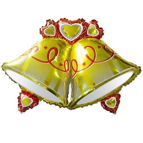 Колокольчики свадебные золотые фольгированный шар с гелием