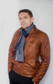 тонкорунный широкий  шарф 100% шерсть мериноса,  расцветка Спортс Синий  SPORTS STRIPE NAVY,  плотность 3