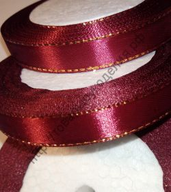 лента атласная с люриксом 25мм бордовая