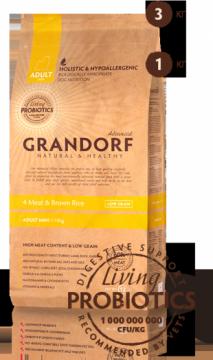 ГРАНДОРФ 4 мяса с рисом для мини пород (GRANDORF 4 Meat&Brown Rice Mini PROBIOTIC)