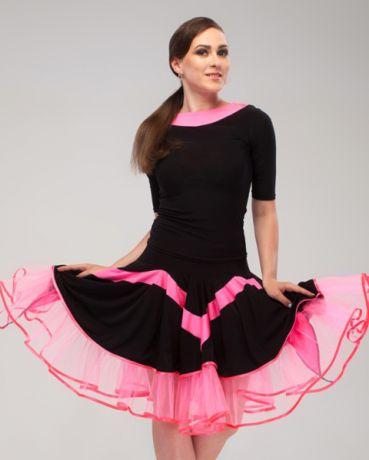 Танцевальный комплект для латины черный с розовой отделкой, интернет магазин Спортилиус