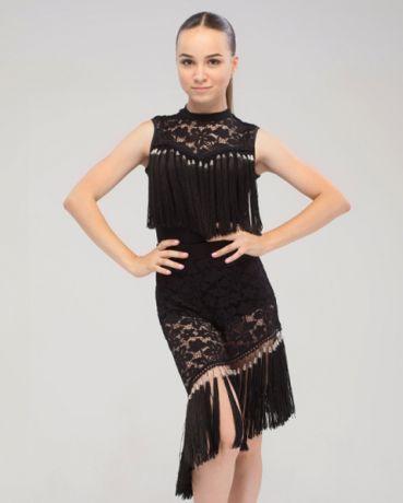 Черный костюм с бахрамой для латины