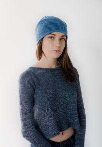 """Кашемировая мягкая классическая тонкая шапка-бини """"Джерси"""", цвет Дельф Блю Jersey Hat Delph Blue"""
