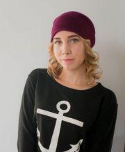 """Кашемировая мягкая классическая тонкая шапка-бини """"Джерси"""", свекольный цвет  Jersey Hat Beetroot"""