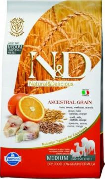 N&D Low Grain GODFISH&ORANGE Adult ( Треска+апельсин  для взрослых собак всех пород )