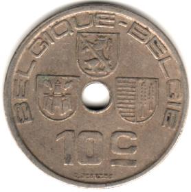 Бельгия 10 сантимов 1938