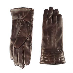 Перчатки женские 02104516679_80; кожа; темно-коричневый (Размер 7)