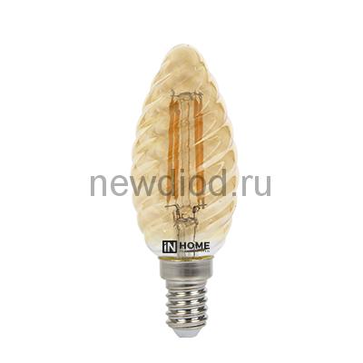 Лампа светодиодная LED-СВЕЧА ВИТАЯ-deco 7Вт 230В Е14 3000К 630Лм золотистая IN HOME