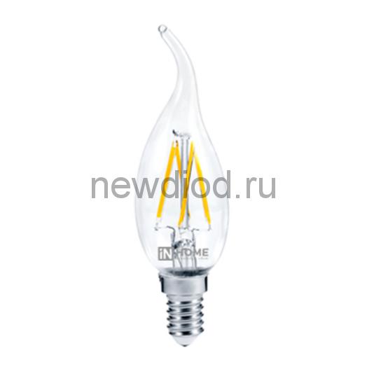 Лампа светодиодная LED-СВЕЧА НА ВЕТРУ-deco 7Вт 230В Е14 4000К 630Лм прозрачная IN HOME