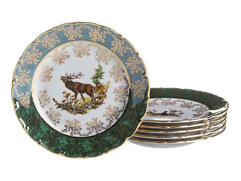 "Набор тарелок ""Зеленая Охота"", 25 см, 6 шт."