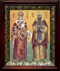 Кирилл и Мефодий (19х22), темный киот