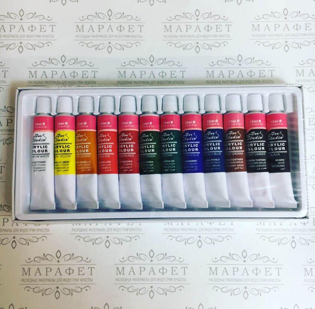 Набор акриловых красок BASICS на водной основе 12мм уп/12 цветов