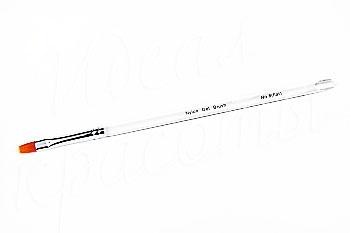 Кисть для геля №8 flat (нейлон) прозрачная ручка