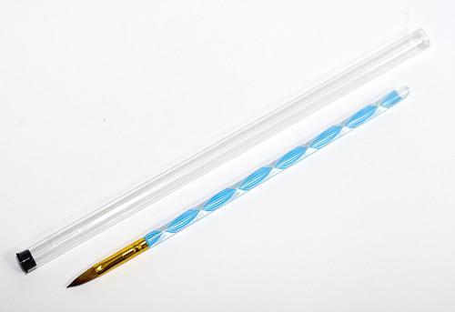Кисть для акрила №8 (голубая спираль) в тубе