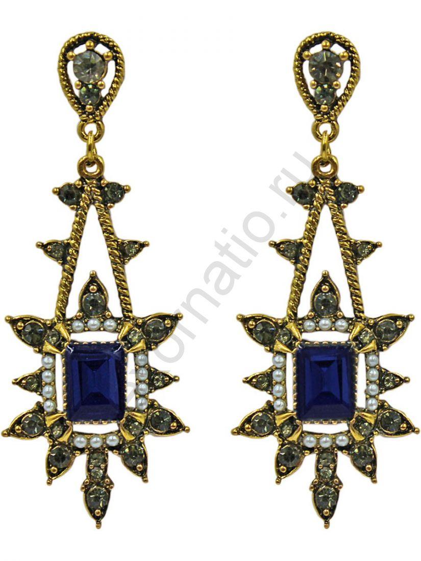 Серьги Taya LX. 11375-EARR-GL.D.BLUE