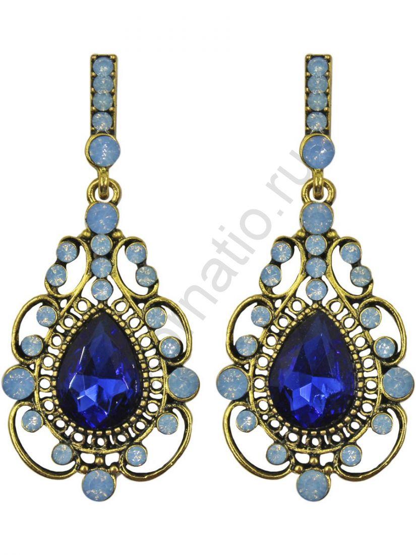 Серьги Taya LX T-B-11292 EARR GL.D.BLUE