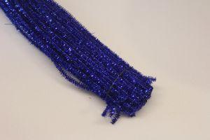 `Синельная проволока, блестящая, 5мм х 300мм, цвет синий (1уп = 10шт)