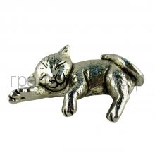 Статуэтка ItalSilver (Италия) Спящий котенок 11см серебро-гальванопластика 9005