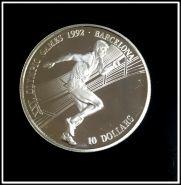 Острова Кука 10 долларов 1990 год, Олимпиада, серебро.