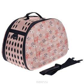 Ibiyaya Сумка-переноска складная для собак и кошек бледно-розовая