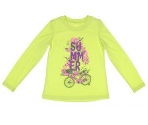 Лонгслив для девочки салатовый с надписью цветами и велосипедом Wow