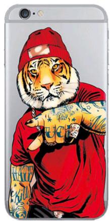 Силиконовый чехол для Iphone 6/6s (Тигр в шапке)