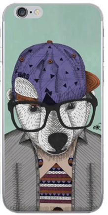 Силиконовый чехол для iPhone 6/6s (медведь в очках)