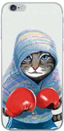 Силиконовый чехол для iPhone 5/5s/se (кот в боксерских перчатках )
