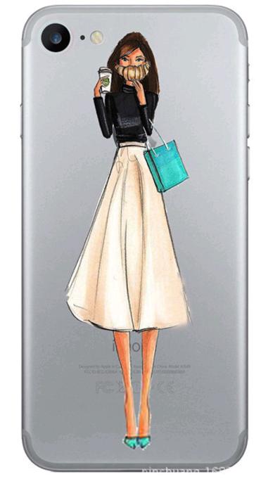 Силиконовый чехол для iphone 6/6s с девушкой и кофе