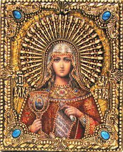 Икона именная Варвара Илиопольская 19 х 23 см, роспись по дереву, самоцветы