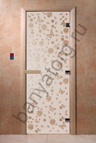 Дверь для бани DoorWood Цветы и Бабочки Сатин