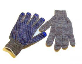 перчатки х/б 10кл 4 нити СТАНДАРТ с ПВХ серые
