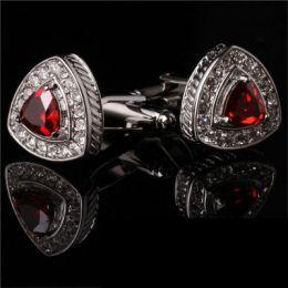 Запонки с красным камнем,модель 37