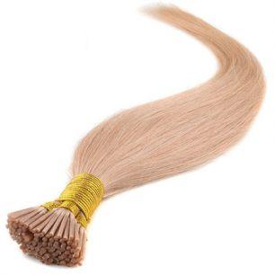 Натуральные волосы на кератиновой капсуле I-тип, №027 Клубничный блонд - 50 см, 100 капсул.
