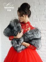 Меховой палантин из чернобурки большой от производителя фото