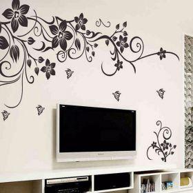 """Виниловые наклейки на стену """"Цветы и бабочки"""""""