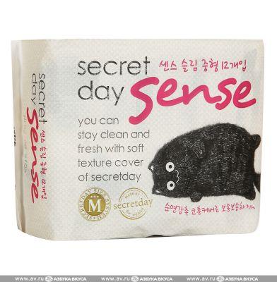 Корейские ультратонкие дышащие органические прокладки Secret Day Sense Medium 24см 12шт