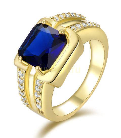 Позолоченное кольцо с сапфиром и цирконами (арт. 801116)