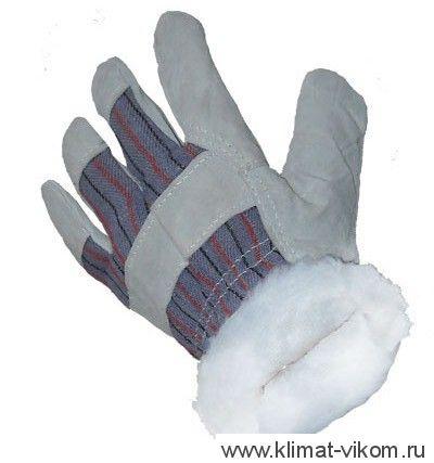 Перчатка Спилковая комбинированная утепленная