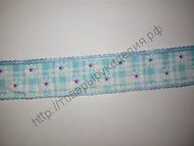 лента декоративная (ткань) 25мм ромашки голубая
