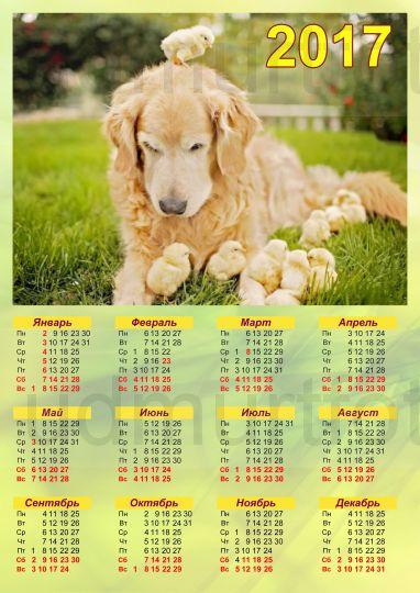 Настенный листовой календарь Пес и Цыплята