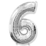 """Фигура """"6""""  (40""""/102 см) серебро"""