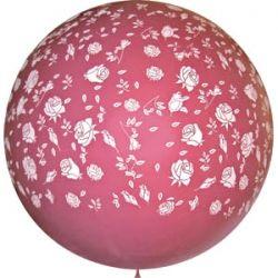 Метровый шар с розами, цвета фуксии латексный с гелием