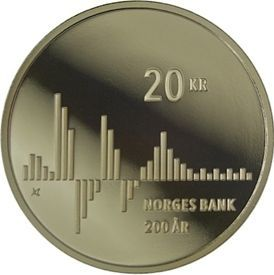 200 лет создания Национального Банка  20 крон Норвегия 2016