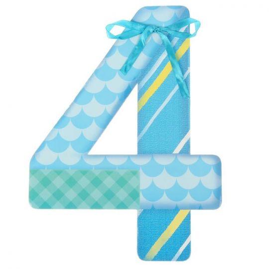 Цифра 4 голубая для фотосессии