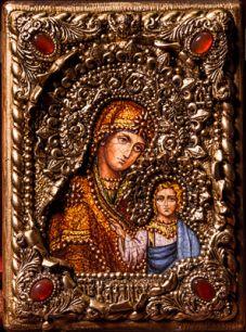 Икона Божьей Матери Казанская 14 х 19 см, роспись по дереву