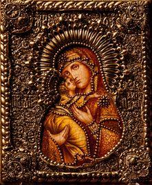 Икона Божьей Матери Владимирская 19 х 23 см, роспись по дереву