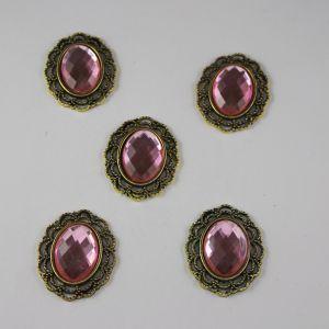 Кабошон со стразой, овал, цвет основы - медь, стразы - светло-розовый, 29х24 мм (1уп = 10шт)